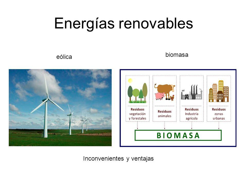 Energías renovables biomasa eólica Inconvenientes y ventajas