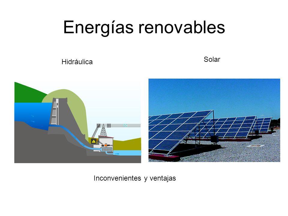 Energías renovables Solar Hidráulica Inconvenientes y ventajas