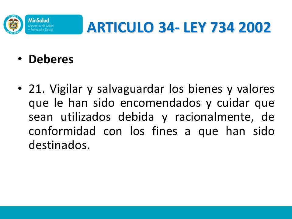 ARTICULO 34- LEY 734 2002 Deberes.