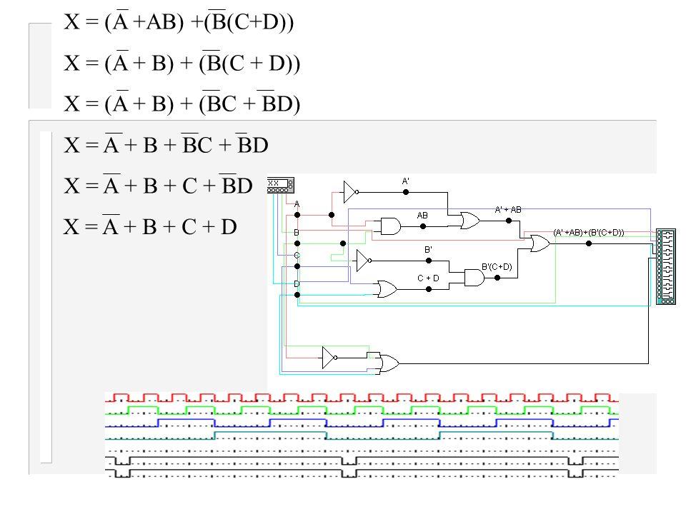 X = (A +AB) +(B(C+D)) X = (A + B) + (B(C + D)) X = (A + B) + (BC + BD) X = A + B + BC + BD. X = A + B + C + BD.