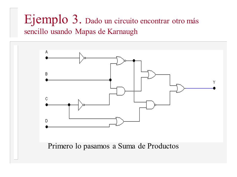 Ejemplo 3. Dado un circuito encontrar otro más sencillo usando Mapas de Karnaugh