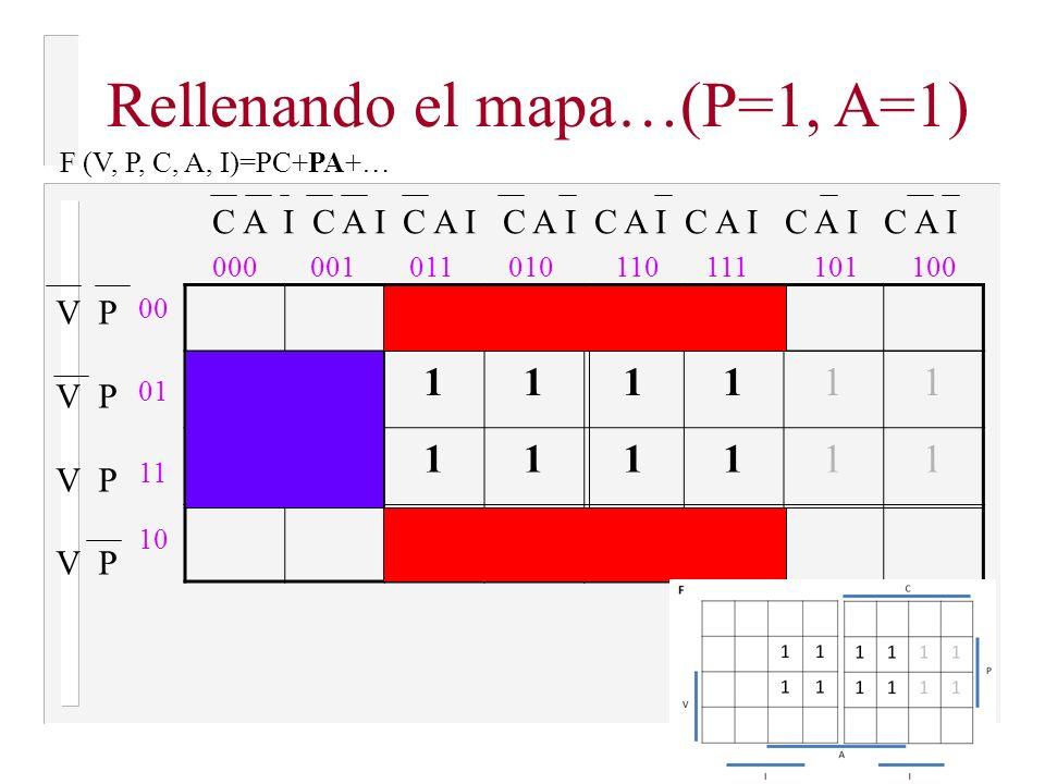 Rellenando el mapa…(P=1, A=1)