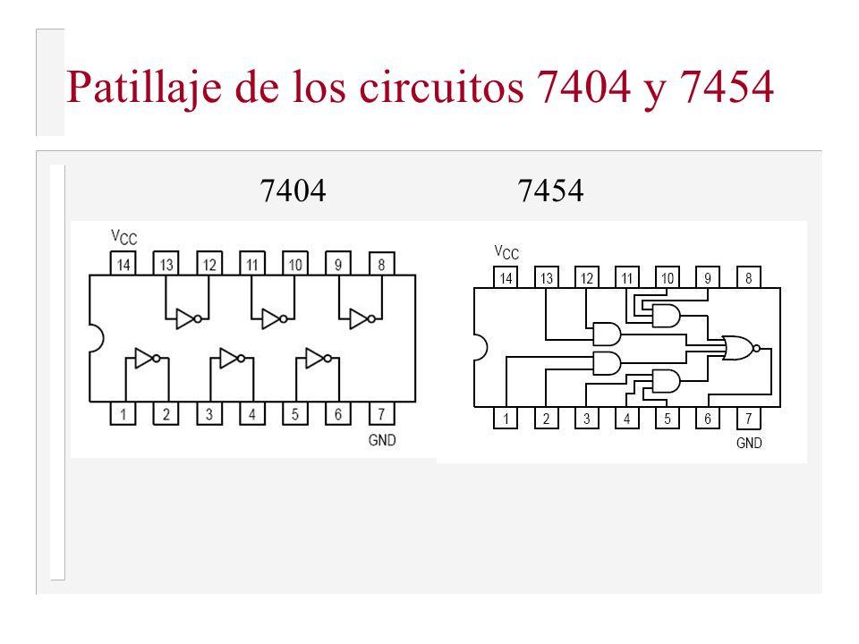 Patillaje de los circuitos 7404 y 7454