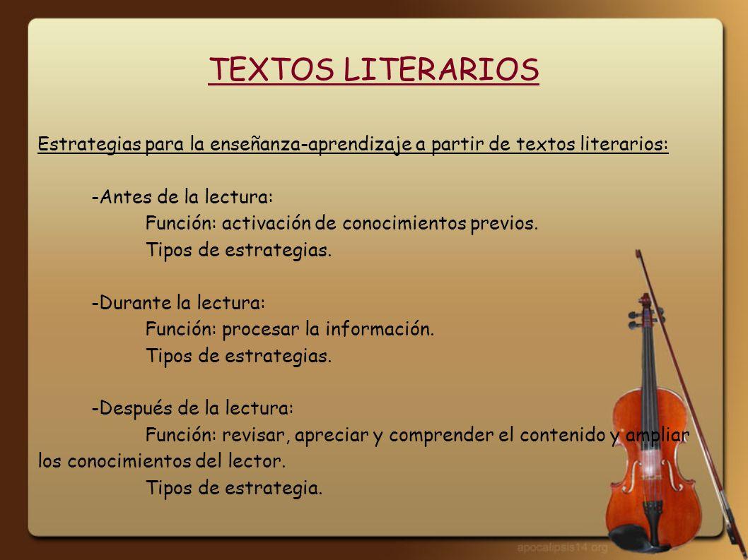 TEXTOS LITERARIOS Estrategias para la enseñanza-aprendizaje a partir de textos literarios: -Antes de la lectura: