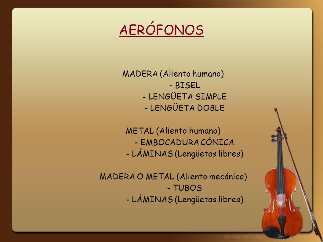 AERÓFONOS MADERA (Aliento humano) - BISEL - LENGÜETA SIMPLE