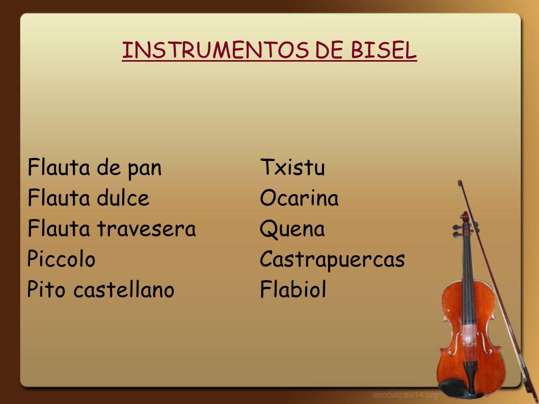 INSTRUMENTOS DE BISEL Flauta de pan Txistu. Flauta dulce Ocarina. Flauta travesera Quena. Piccolo Castrapuercas.
