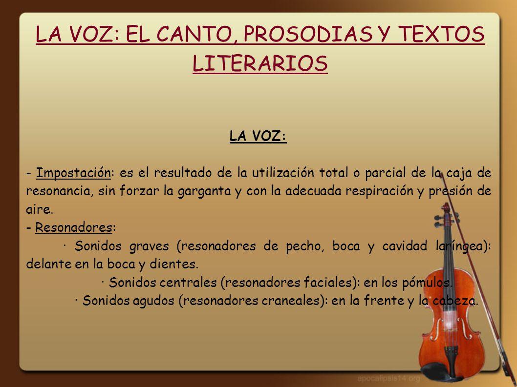LA VOZ: EL CANTO, PROSODIAS Y TEXTOS LITERARIOS