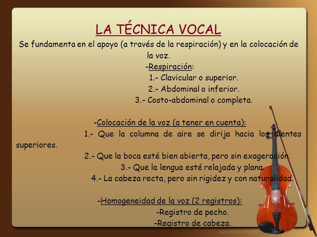 LA TÉCNICA VOCAL Se fundamenta en el apoyo (a través de la respiración) y en la colocación de la voz.