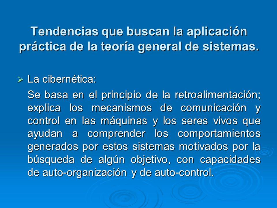 Tendencias que buscan la aplicación práctica de la teoría general de sistemas.