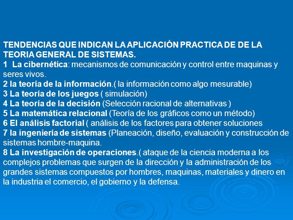 TENDENCIAS QUE INDICAN LA APLICACIÓN PRACTICA DE DE LA TEORIA GENERAL DE SISTEMAS.