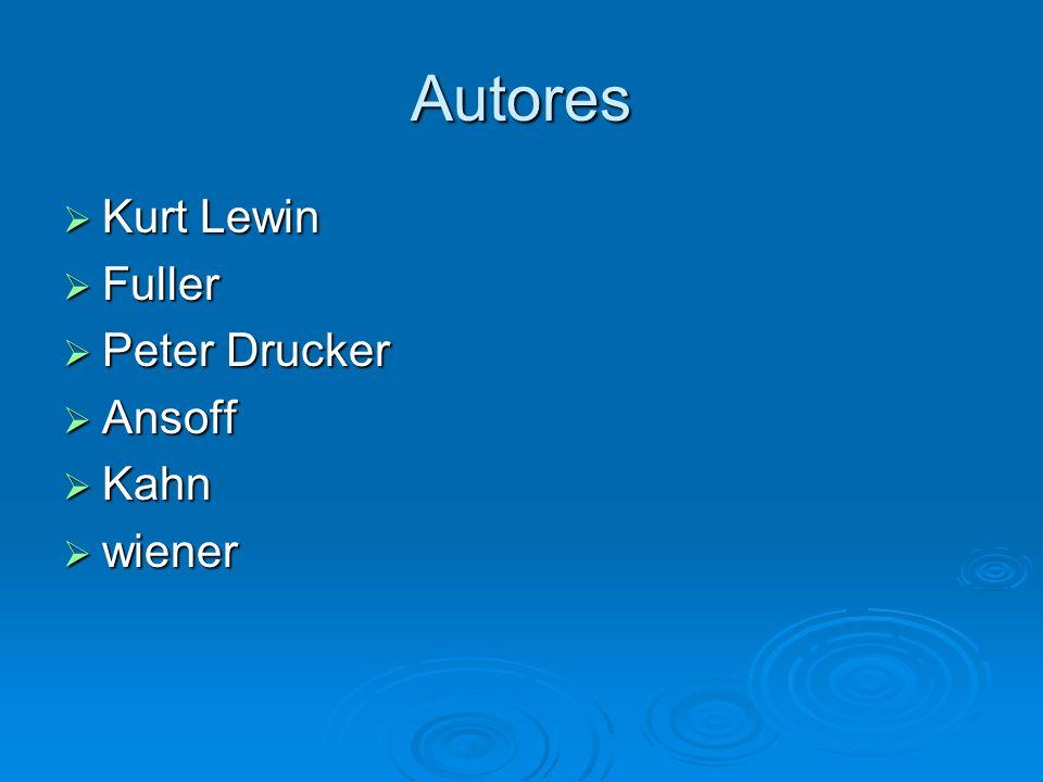 Autores Kurt Lewin Fuller Peter Drucker Ansoff Kahn wiener