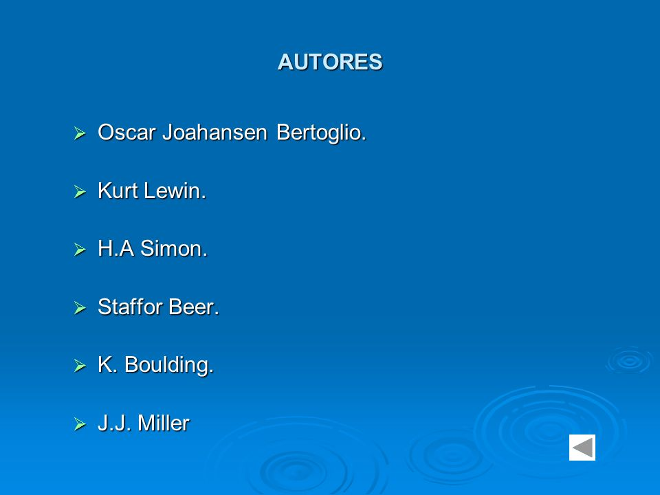 AUTORES Oscar Joahansen Bertoglio. Kurt Lewin. H.A Simon. Staffor Beer. K. Boulding. J.J. Miller