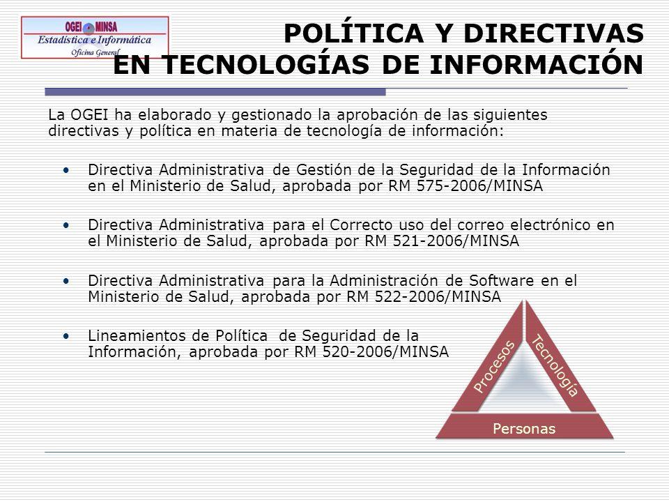 POLÍTICA Y DIRECTIVAS EN TECNOLOGÍAS DE INFORMACIÓN