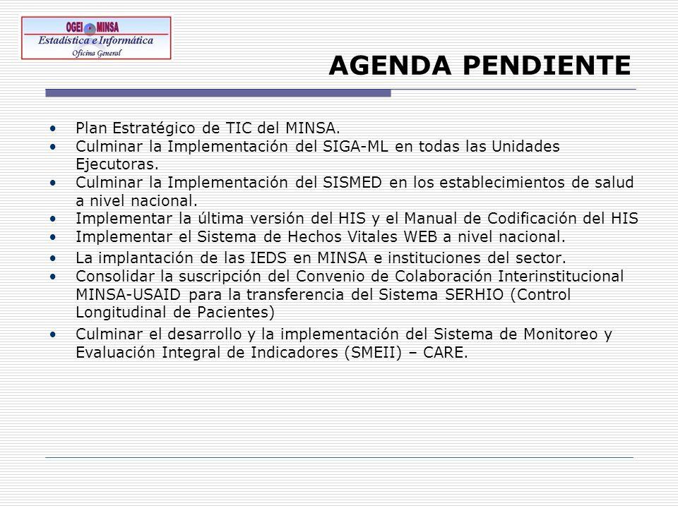 AGENDA PENDIENTE Plan Estratégico de TIC del MINSA.