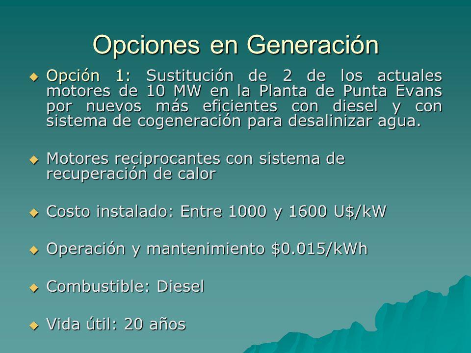 Opciones en Generación