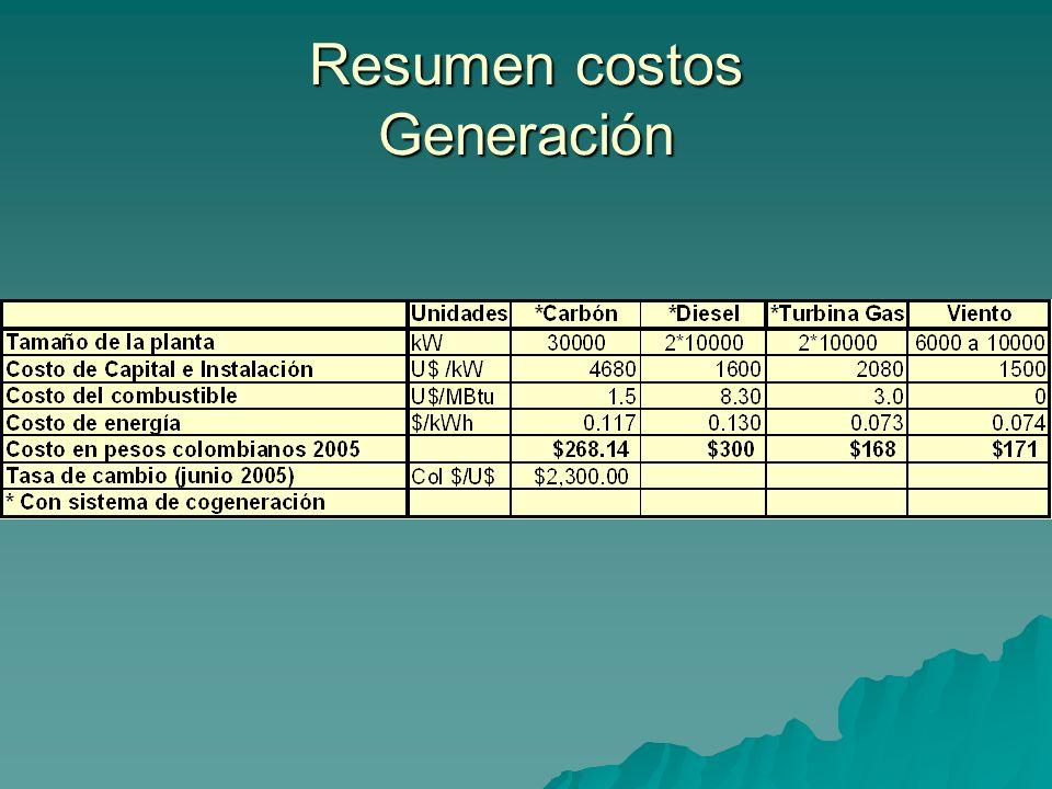 Resumen costos Generación