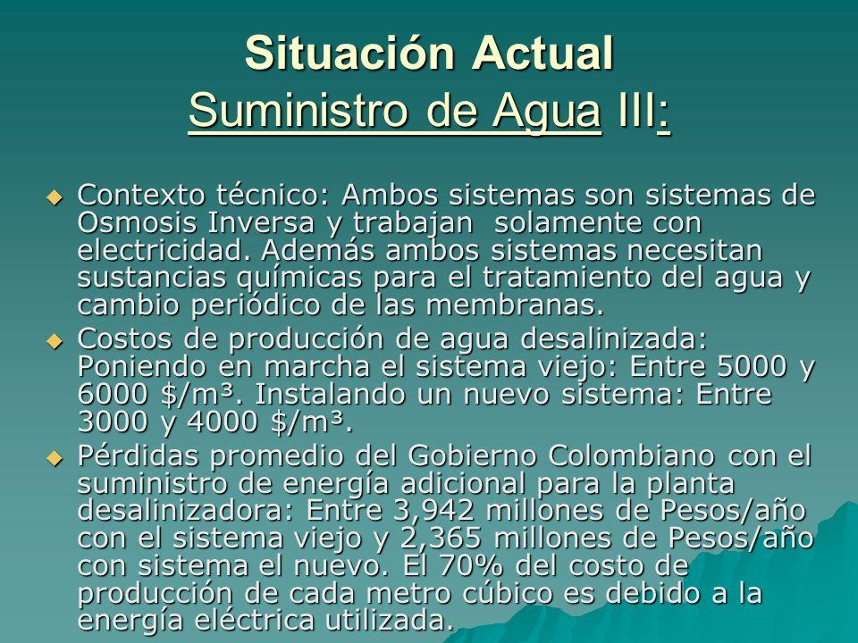 Situación Actual Suministro de Agua III: