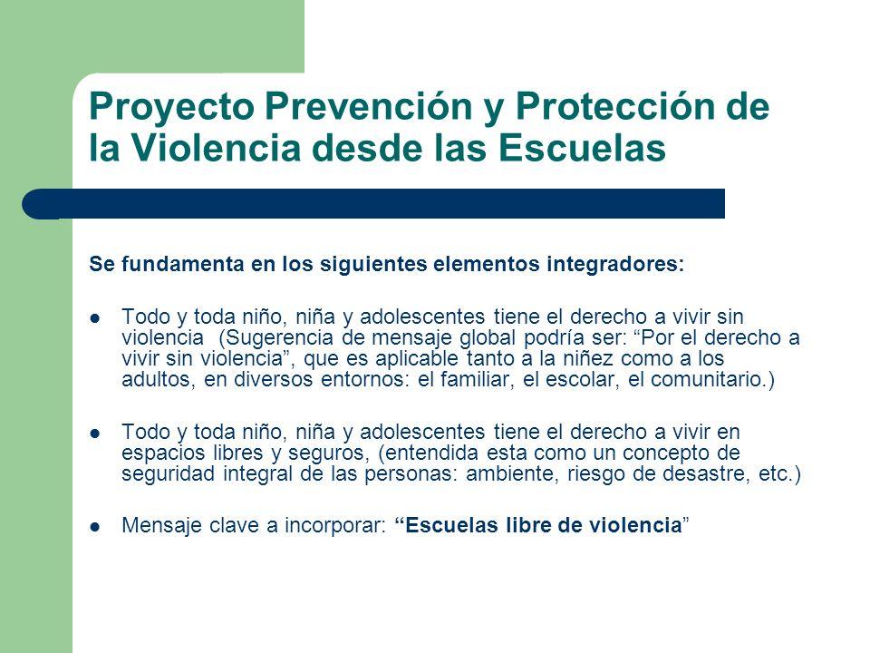 Proyecto Prevención y Protección de la Violencia desde las Escuelas