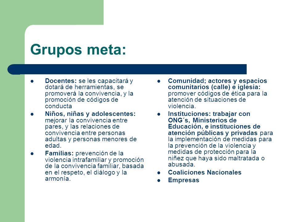 Grupos meta:Docentes: se les capacitará y dotará de herramientas, se promoverá la convivencia, y la promoción de códigos de conducta.