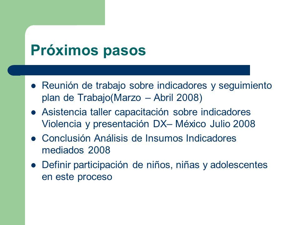 Próximos pasosReunión de trabajo sobre indicadores y seguimiento plan de Trabajo(Marzo – Abril 2008)