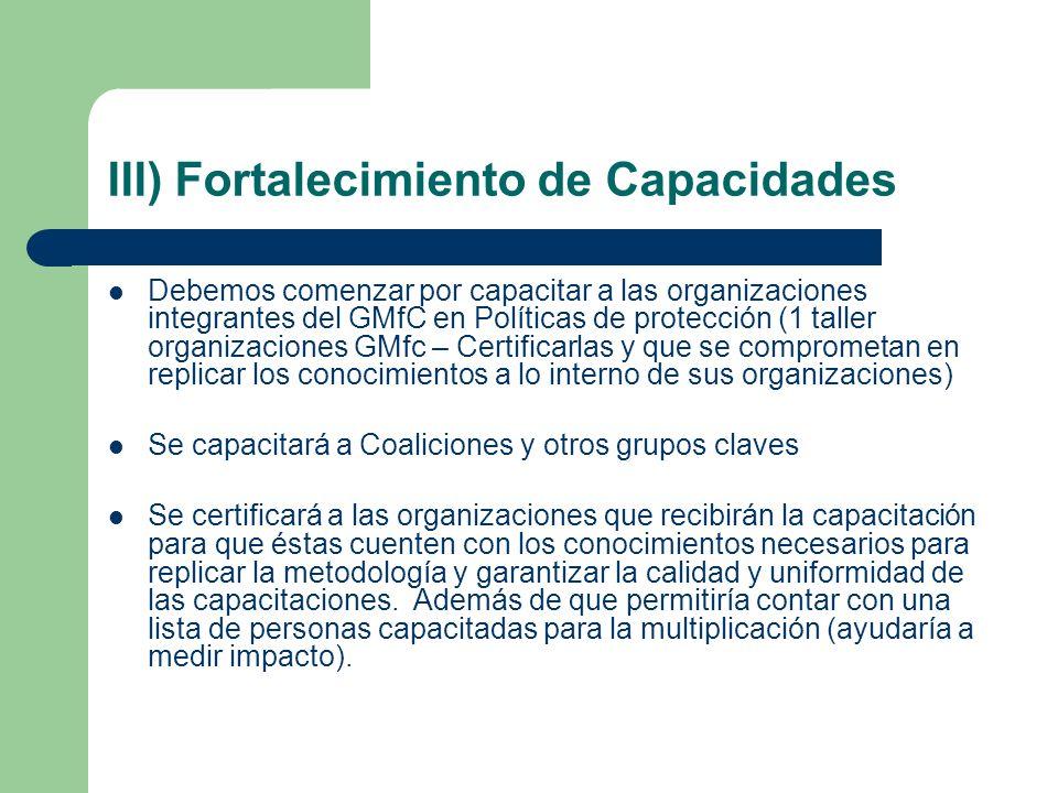 III) Fortalecimiento de Capacidades
