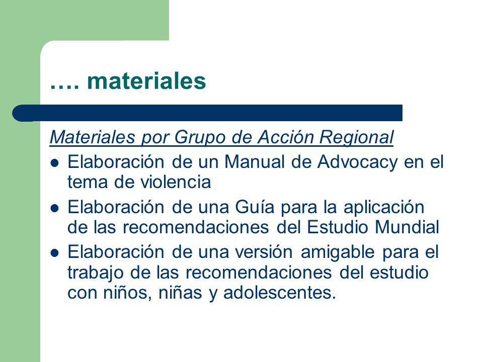 …. materiales Materiales por Grupo de Acción Regional