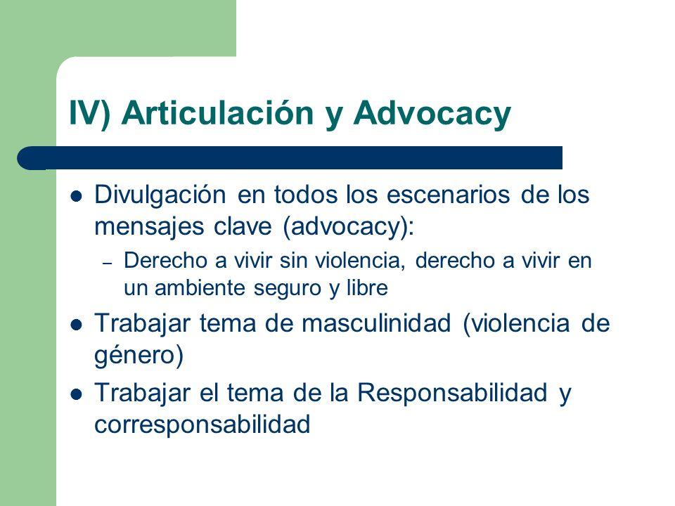 IV) Articulación y Advocacy