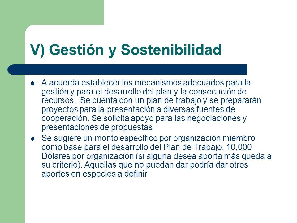 V) Gestión y Sostenibilidad