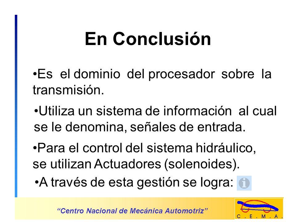En Conclusión Es el dominio del procesador sobre la transmisión.