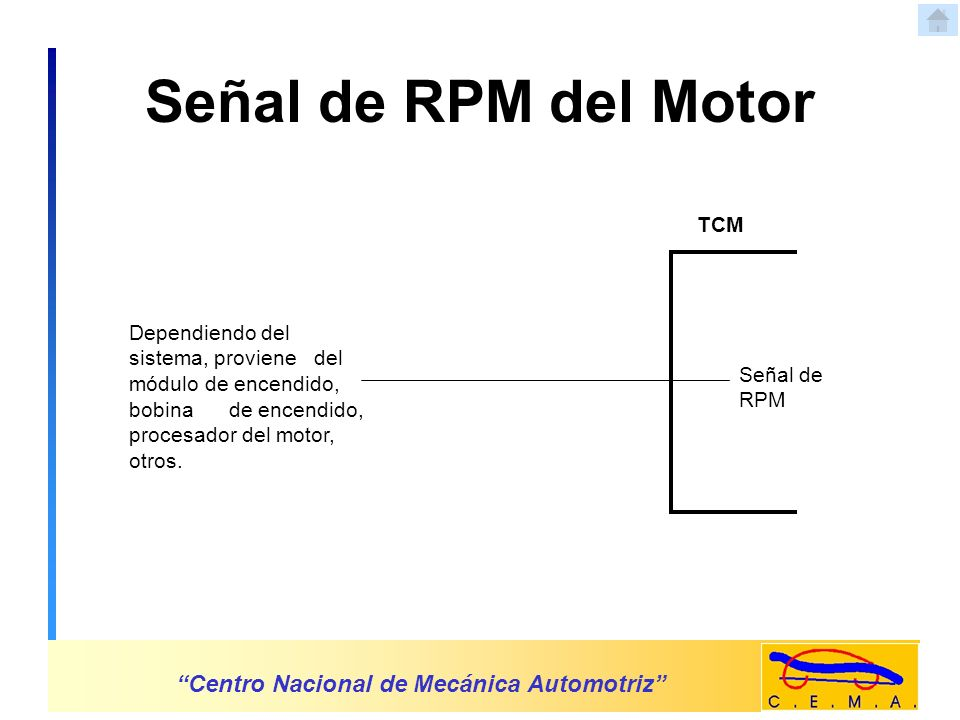 Señal de RPM del Motor Centro Nacional de Mecánica Automotriz TCM