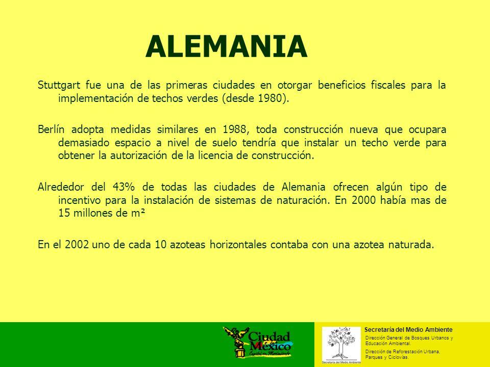 ALEMANIAStuttgart fue una de las primeras ciudades en otorgar beneficios fiscales para la implementación de techos verdes (desde 1980).