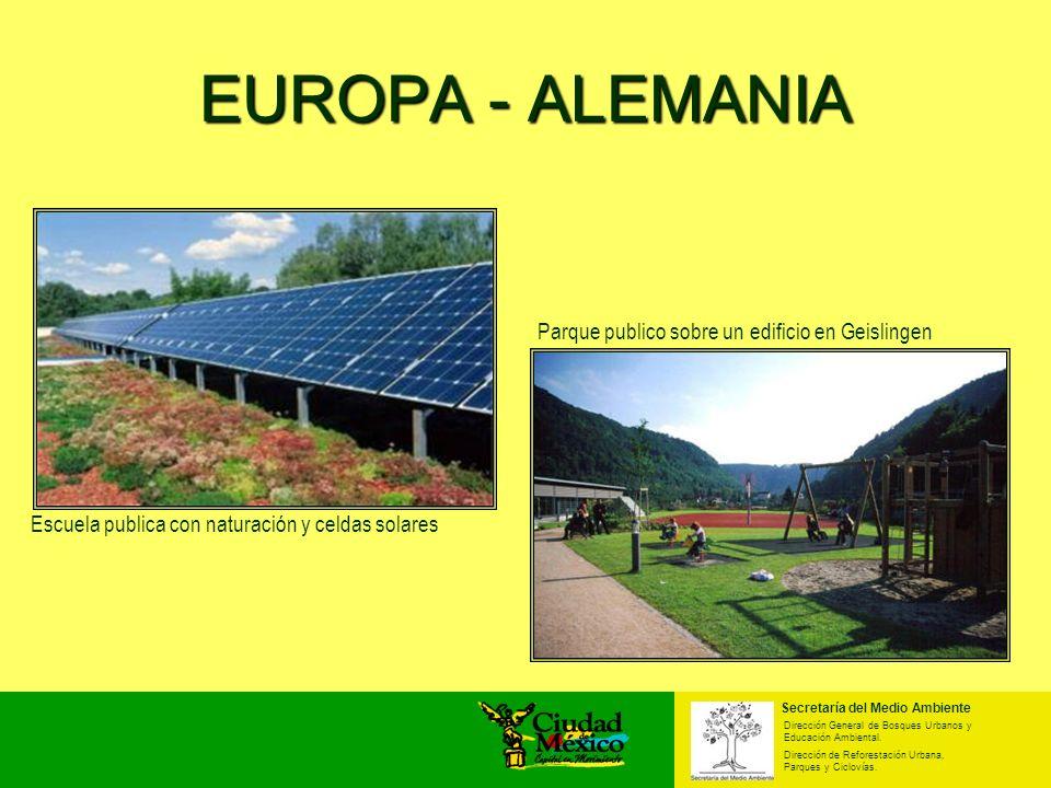 EUROPA - ALEMANIA Parque publico sobre un edificio en Geislingen