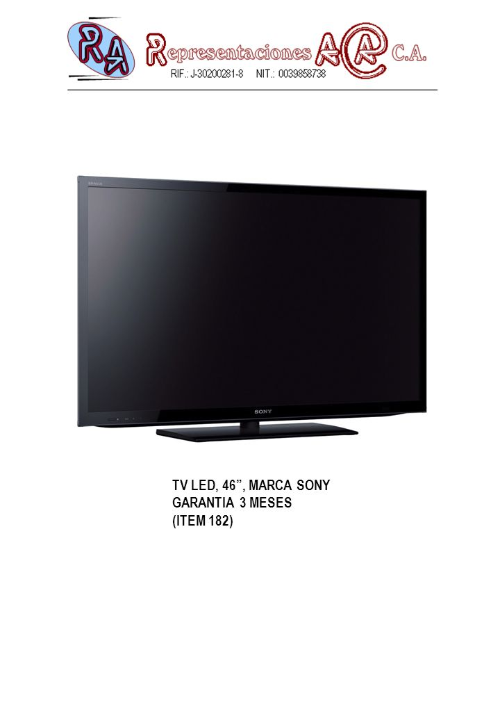 TV LED, 46 , MARCA SONY GARANTIA 3 MESES (ITEM 182)