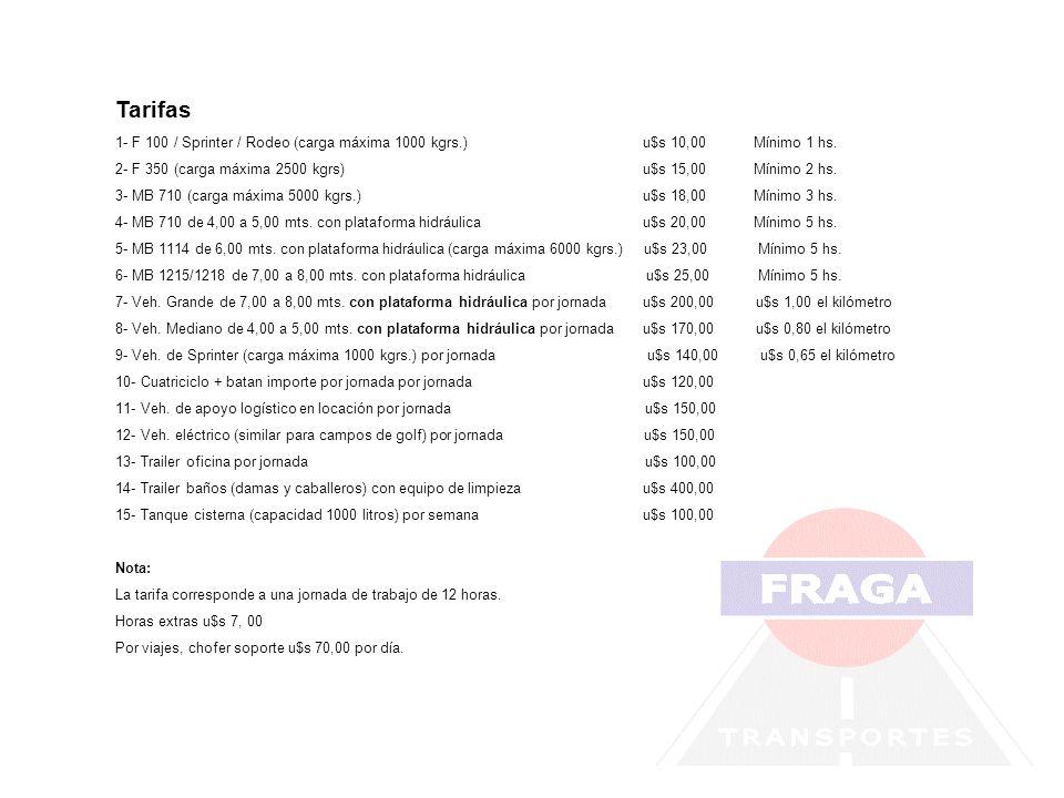 Tarifas1- F 100 / Sprinter / Rodeo (carga máxima 1000 kgrs.) u$s 10,00 Mínimo 1 hs.