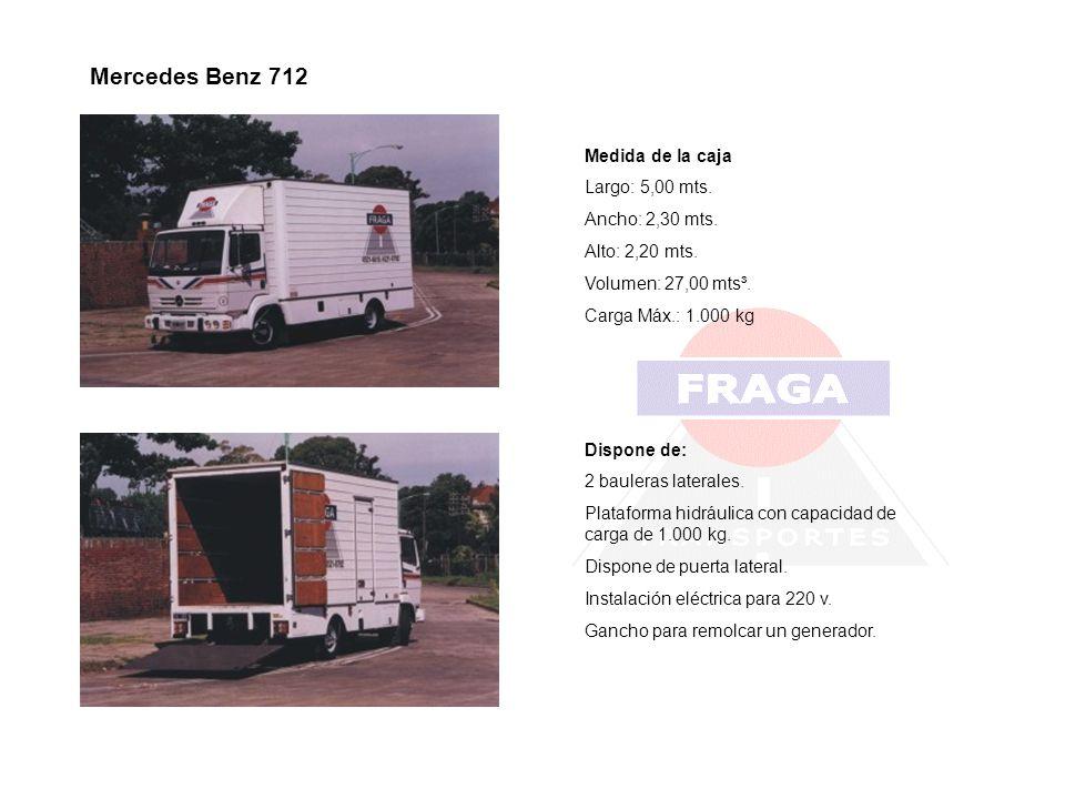 Mercedes Benz 712 Medida de la caja Largo: 5,00 mts. Ancho: 2,30 mts.