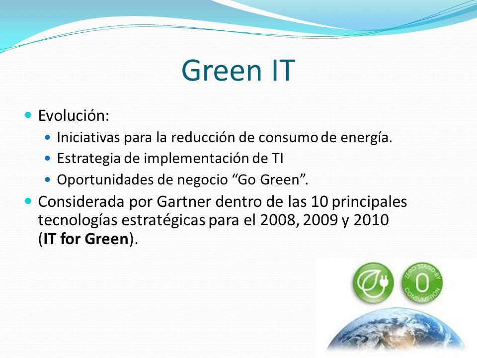 Green IT Evolución: Iniciativas para la reducción de consumo de energía. Estrategia de implementación de TI.