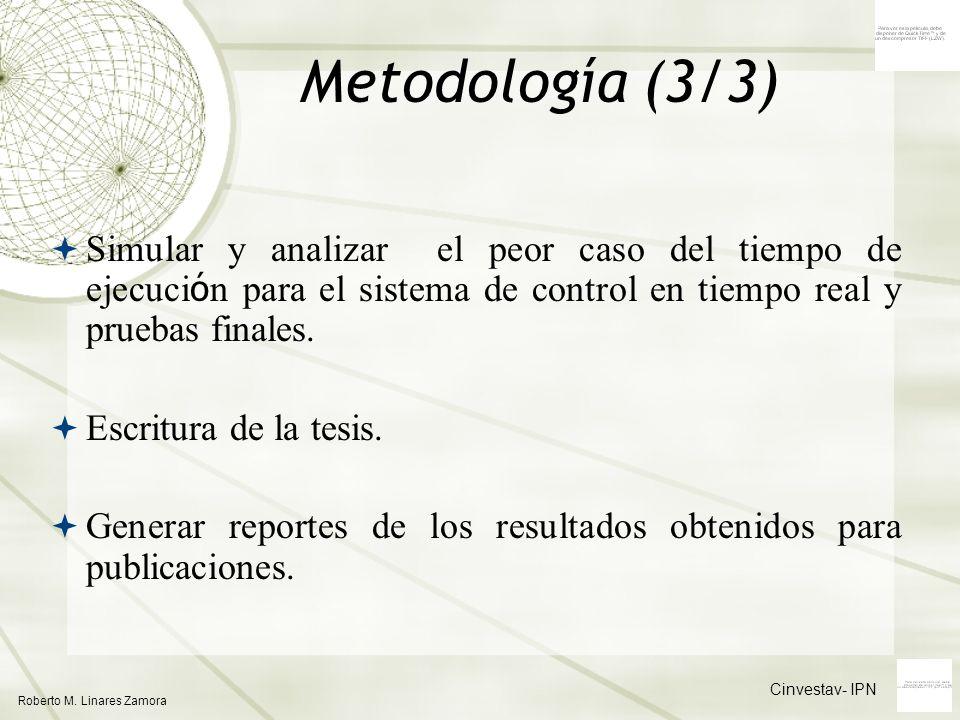 Metodología (3/3) Simular y analizar el peor caso del tiempo de ejecución para el sistema de control en tiempo real y pruebas finales.