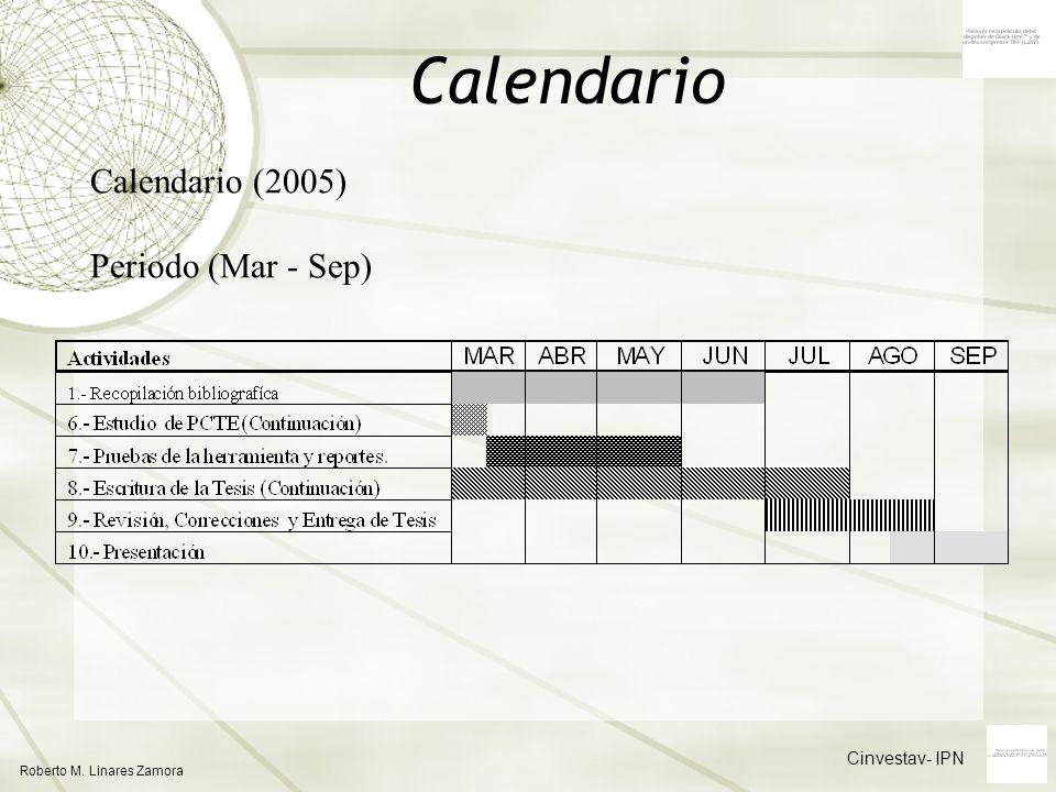 Calendario Calendario (2005) Periodo (Mar - Sep) Cinvestav- IPN