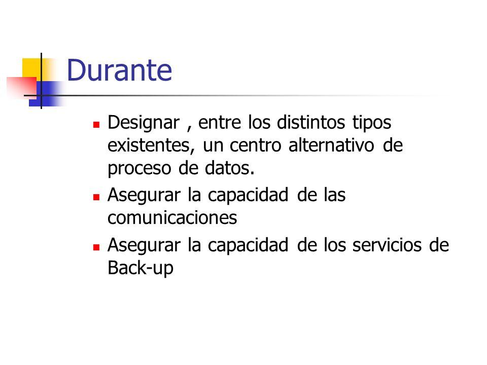 DuranteDesignar , entre los distintos tipos existentes, un centro alternativo de proceso de datos. Asegurar la capacidad de las comunicaciones.