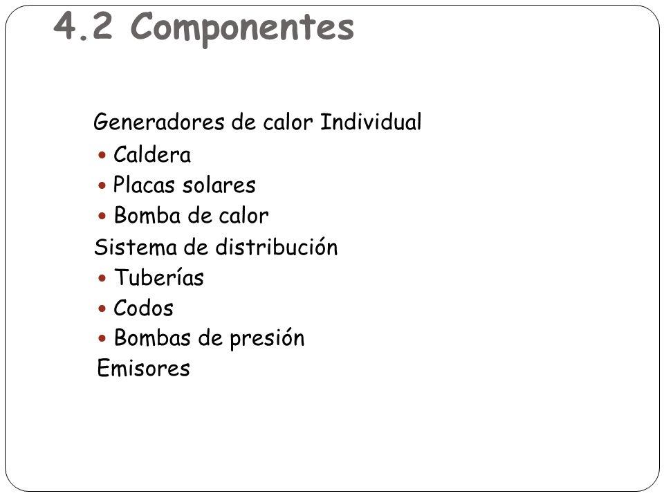 4.2 Componentes Generadores de calor Individual Caldera Placas solares