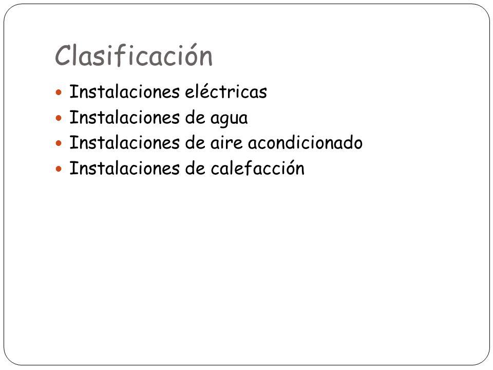 Clasificación Instalaciones eléctricas Instalaciones de agua