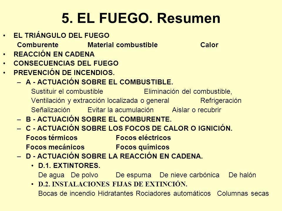 5. EL FUEGO. Resumen EL TRIÁNGULO DEL FUEGO