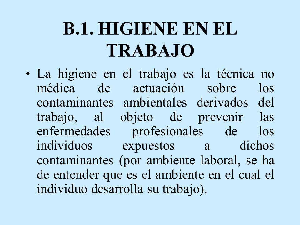 B.1. HIGIENE EN EL TRABAJO