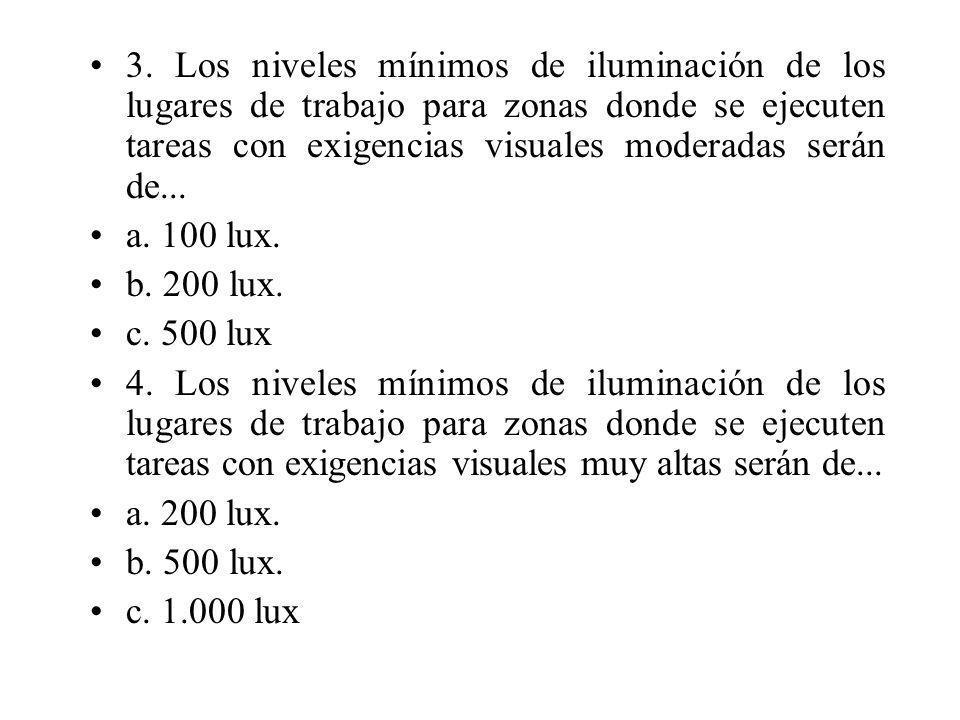 3. Los niveles mínimos de iluminación de los lugares de trabajo para zonas donde se ejecuten tareas con exigencias visuales moderadas serán de...