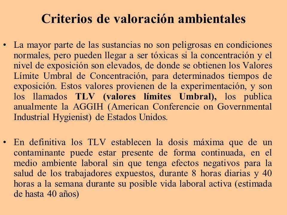 Criterios de valoración ambientales