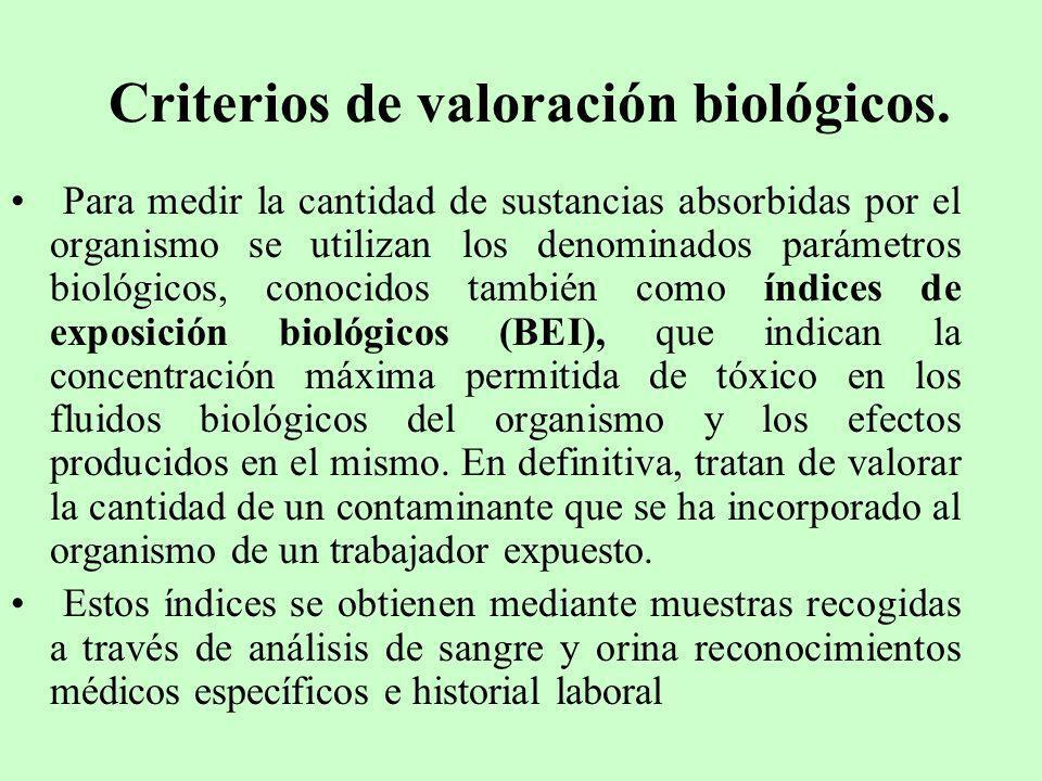 Criterios de valoración biológicos.