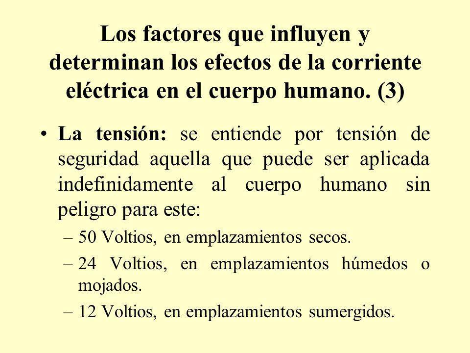 Los factores que influyen y determinan los efectos de la corriente eléctrica en el cuerpo humano. (3)