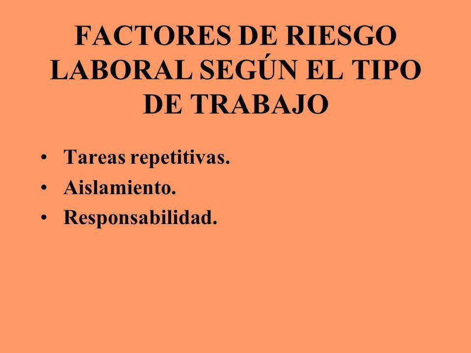 FACTORES DE RIESGO LABORAL SEGÚN EL TIPO DE TRABAJO