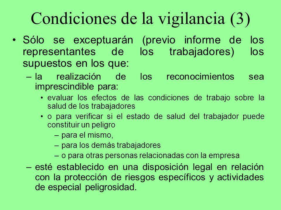 Condiciones de la vigilancia (3)