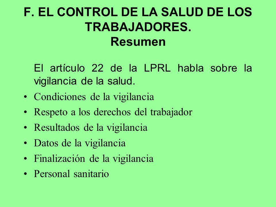 F. EL CONTROL DE LA SALUD DE LOS TRABAJADORES. Resumen